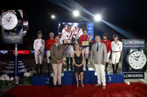 The podium with team CTM in second place. Photo from https://www.globalchampionstour.com/