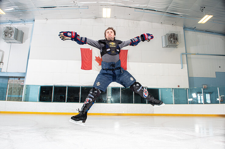 Lee Harris in Hockey Uniform jumping